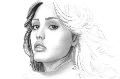 Jessica Alba Wall Art - Drawing - Jessica Alba by Gil Fong