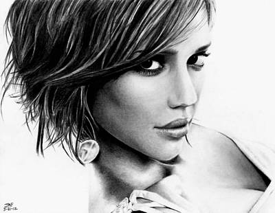 Jessica Alba Wall Art - Drawing - Jessica Alba  by Rick Fortson