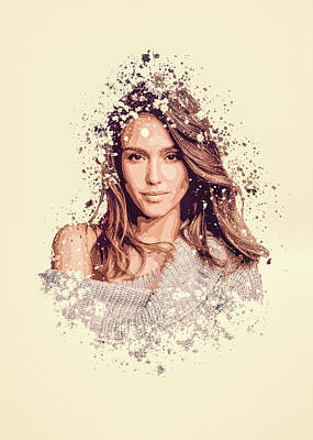 Jessica Alba Wall Art - Painting - Jessica Alba Splatter Painting by MP Art