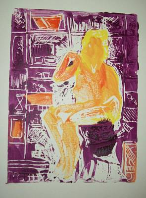 Printmaking Mixed Media - Jessica In My Studio by James Christiansen