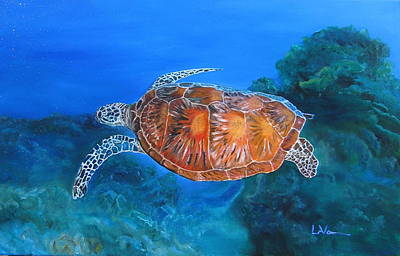 Painting - Jessie's Sea Turtle by LaVonne Hand