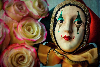 Fool Photograph - Jester And Roses by Garry Gay