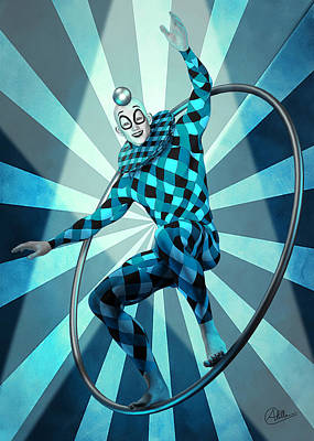Clown Mixed Media - Jester Blue  by Quim Abella