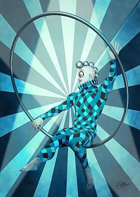 Buy Fine Art Online Digital Art - Jester Boy Blue by Quim Abella
