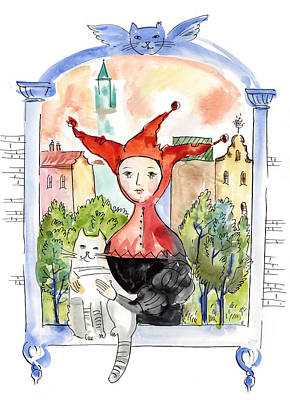Reverie Drawing - Jester With Cat In Window by Dina-Art