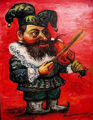 Roussimoff Wall Art - Painting - Jester With Violin by Ari Roussimoff