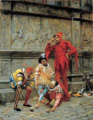 Eduardo Zamacois Painting - Jesters Playing Cochonnet by Eduardo Zamacois y Zabala