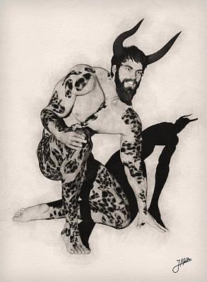 Male Nude Drawing Digital Art - Jesting Faun by Joaquin Abella