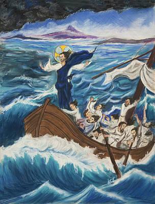 Jesu Calming The Sea Art Print