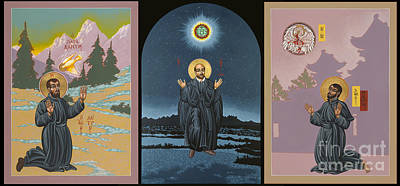 St Francis Prayer Painting - Jesuit Triptych-st Peter Faber-st Ignatius-st Francis Xavier by William Hart McNichols