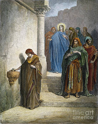 Drawing - Jesus And Widows Mite by Gustave Dore