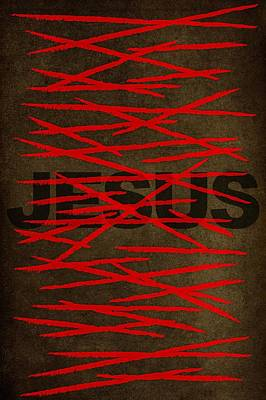 Wip Digital Art - Jesus 39 Stripes Minimal Art by Brett Pfister