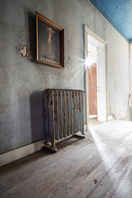 Jesus Above The Heater - Abandoned Building Art Print