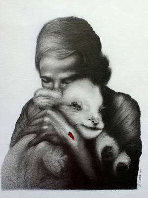 Jesus And The Lamb Art Print