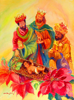 Navidad Painting - Jesus And The Wise Men by Estela Robles