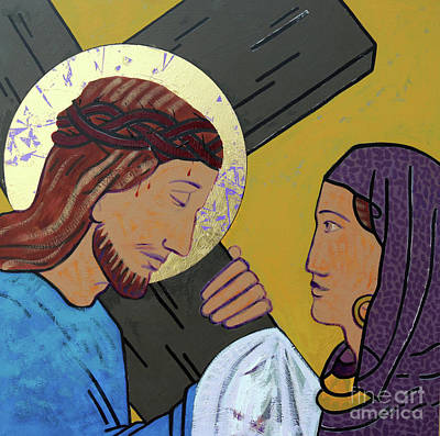 Via Dolorosa Painting - Jesus And Veronica by Sara Hayward
