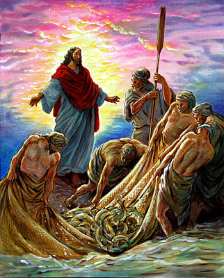 Jesus Resurrection Painting - Jesus Appears To The Fishermen by John Lautermilch