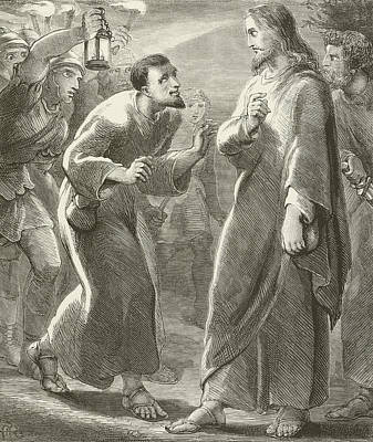 Jesus Christ Drawing - Jesus Betrayed By Judas by English School