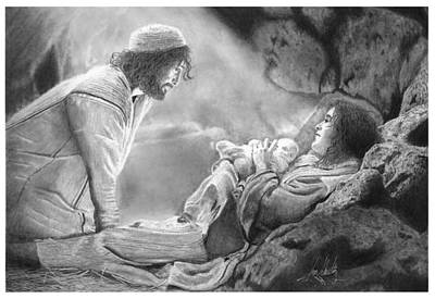 Pencil Drawing Of Jesus Drawing - Jesus' Birth Drawing by James Schultz