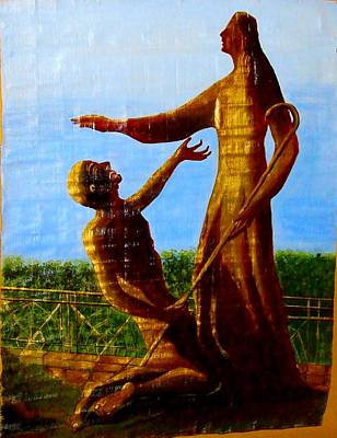 Papyrus Painting - Jesus Blessing St.peter by Xafira Mendonsa