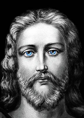 Photograph - Jesus Blue Eyes by Munir Alawi