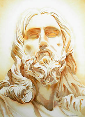 Lord Drawing - Jesus By Bernini Tribute by J- J- Espinoza