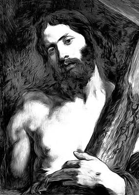 Anton Digital Art - Jesus Carrying Cross by Munir Alawi