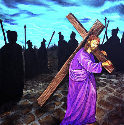 Mixed Media - Jesus Carrying The Cross by Gary Donald Sanchez