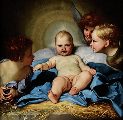 Rooftops Painting -  Jesus Child Between John Boys And Two Angels by Carlo Maratta