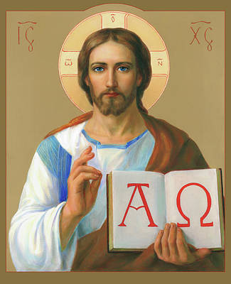 Orthodox Icon Painting - Jesus Christ - Alpha And Omega by Svitozar Nenyuk