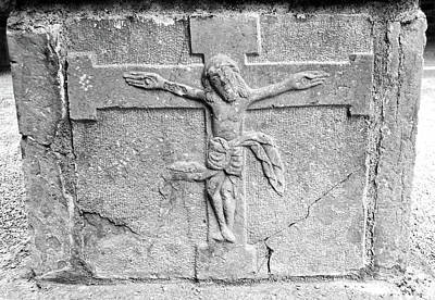 Photograph - Jesus Christ Celtic Crucifix Stone Carving Jerpoint Abbey County Kilkenny Ireland Black And White by Shawn O'Brien