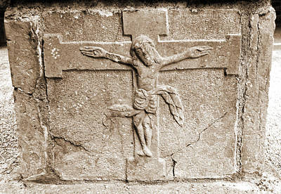 Photograph - Jesus Christ Celtic Crucifix Stone Carving Jerpoint Abbey County Kilkenny Ireland Sepia by Shawn O'Brien