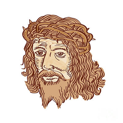 Jesus Face Digital Art - Jesus Christ Face Crown Thorns Etching by Aloysius Patrimonio
