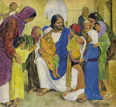 Jesus Christ Drawing - Jesus Christ, He Loved Children by Clive Uptton