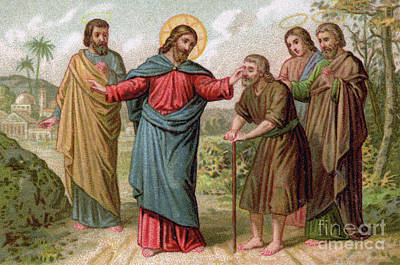 Miraculous Painting - Jesus Christ Heals The Blind Man by French School