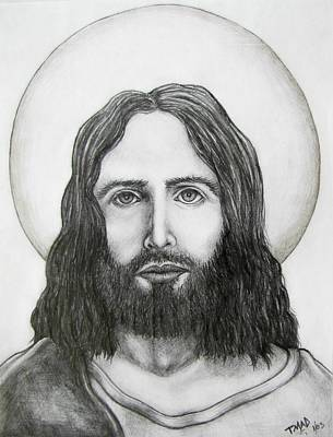 Art Print featuring the drawing Jesus Christ by Michael  TMAD Finney