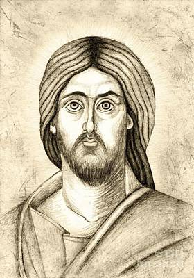Byzantine Icon Drawing - Jesus Christ Pantokrator by Joanna Cieslinska