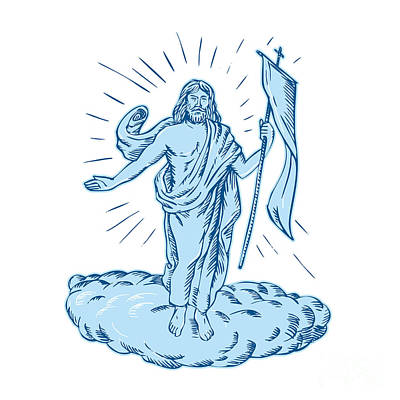 Christ Artwork Digital Art - Jesus Christ Resurrection Etching by Aloysius Patrimonio