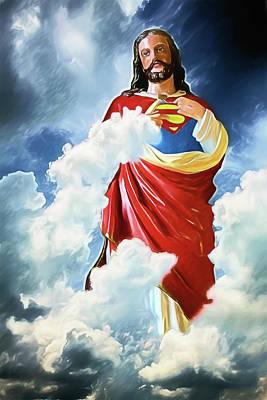 Digital Art - Jesus Christ Superman by John Haldane