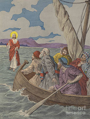 Jesus Boat Painting - Jesus Christ Walking On The Waters by French School