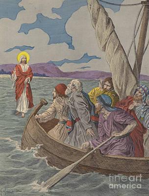 Jesus Christ Walking On The Waters Art Print