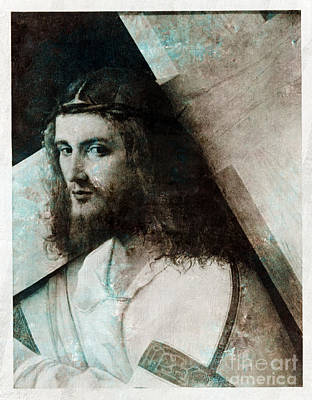 1907 Digital Art - Jesus Christ With Cross by T Anderson