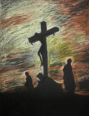 Human Sacrifice Art Painting - Jesus Crucified On Golgotha, Pastel Technique by Dan Comaniciu