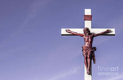 Jesus Crucifix Against The Sky Art Print by Gary Whitton