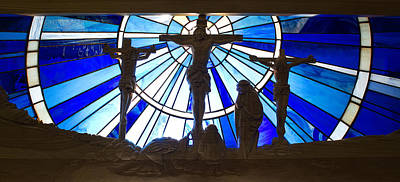 Photograph - Jesus Crucifixion Wood Carving And Stained Glass by Cindy D Chinn