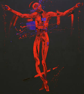 Abstract Cross Painting - Jesus Dies On The Cross Station Twelve by Penny Warden