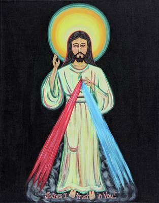 Christian Art . Devotional Art Painting - Jesus Divine Mercy by Danielle Tayabas