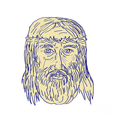 Jesus Face Crown Of Thorns Drawing Art Print