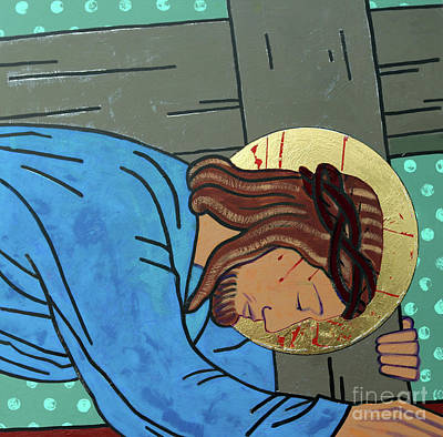 Jesus Falls Art Print by Sara Hayward