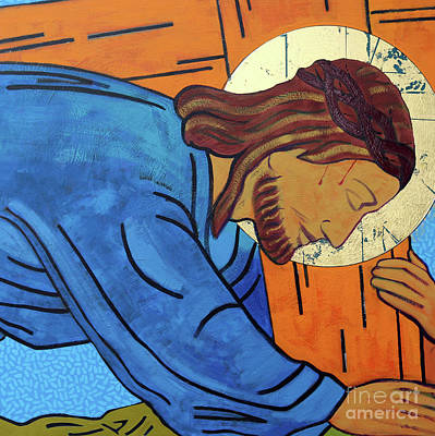 The Wooden Cross Painting - Jesus Falls Under The Cross by Sara Hayward